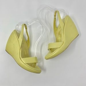 Prada Yellow Leather Platform Wedge Sandals